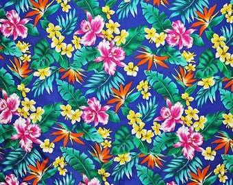 Monstera Royal Hawaii hawaiian fabric fabric flowers beach surf beach aloha flowers tiki cotton fabric flowers honolulu
