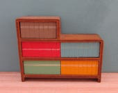Vintage Barton Wooden Dolls House Bookshelf with Colourful Books