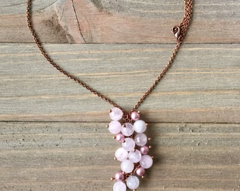 Rose quartz crystal Necklace, Grape bunch necklace, Swarovski pearl necklace, Antique Copper wire wrapped necklace, Gifts for her, Bridesmai