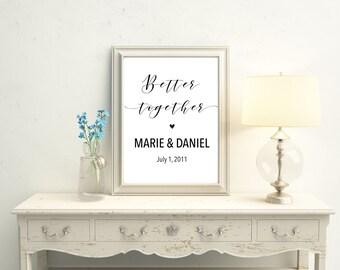 Printable. Better Together Print, Personalized name Print, anniversary gift, wedding signage, wedding date print, custom name, 8X10 11X14
