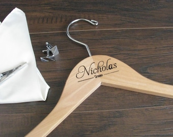 "17"" Maple Wood Hanger with bar. Personalized Gift for Groom, Groomsmen, Father of the Bride, Father of the Groom, Ring Bearer"