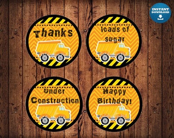 Construction Cupcake Toppers, Construction Birthday, Construction Cupcake Decor, Trucks, Traffic Cones, INSTANT DOWNLOAD