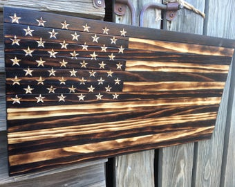 Handmade Burned Wood American Flag