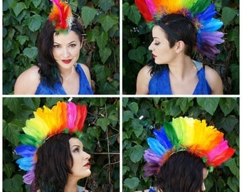 Rainbow Bright Feather Mohawk - HDMH-GP--RAINBOWBRT