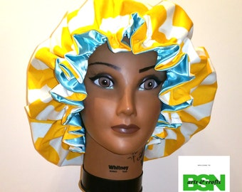 Fancy Zig Zag Yellow and Blue Satin lined Bonnet