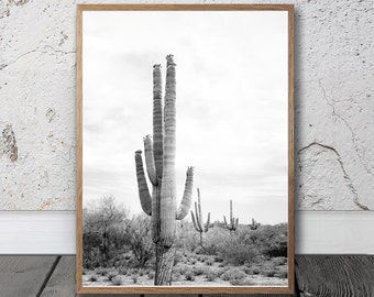 Desert Cactus Print - Large Cactus Wall Art, Black and White Photography, Mexican Wall Art, Aztec Decor, South Western Home, Arizona Poster