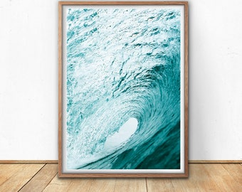 Wave Art Print - Blue Wall Art, Digital Print, Ocean Download, Surf Print, Sea Art, Large Wave Poster, Nautical Prints, Boys Room Wall Art