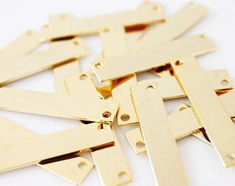 Gold Bar Pendant Name Plate Bar Gold Bar Charm Making Jewelry Supply for Jewelry GBC - 5 / 4 Pcs