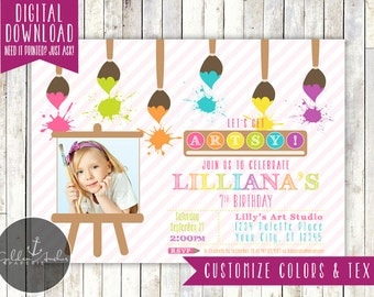 Art Birthday Party Invitation, Art Party Invitation, Painting Party Invitation, Art Party Invite, Photo - Printable DIY