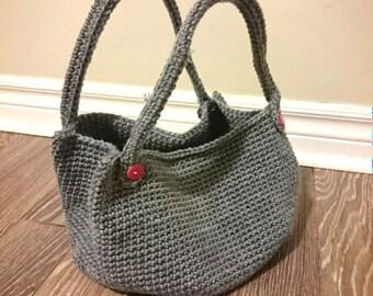 Gray round bottom bag