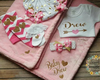 Infant, Baby Girl, Newborn, Personalized Blanket, Bodysuit, Onesie, Baby Shower, Coming Home Outfit