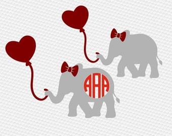 Valentine's day svg, Valentine elephant svg, Elephant svg, Elephant balloon svg, Valentine svg, Love svg, Cricut, Cameo, Svg, DXF, Png, Eps