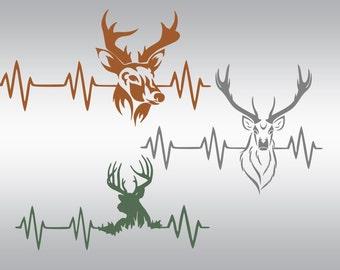Heartbeat Deer svg, Deer svg, Hunting svg, Deer hunting svg, Fishing svg, SVG Files, Cricut, Cameo, Cut file, Clipart, Svg, DXF, Png, Eps