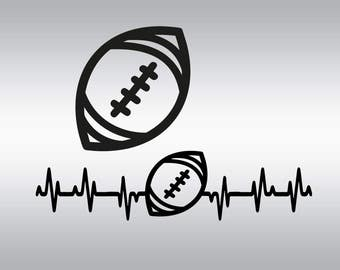 Football ball heartbeat  SVG Clipart Cut Files Silhouette Cameo Svg for Cricut and Vinyl File cutting Digital cuts file DXF Png Pdf Eps