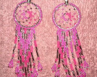 Pink dream catcher earrings