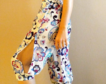 Fine Hearts Boho Chic Style Splitted Pink and Blue Harem Pants - Perfect for Yoga, Beachwear and Festival Apparel