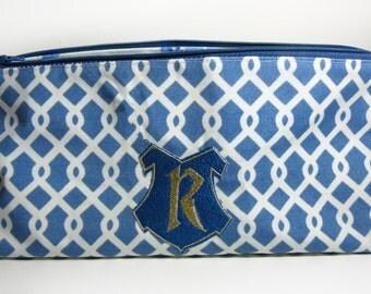 Embroidered R Blue Make Up Bag Organizer, Ravenclaw, Harry Potter