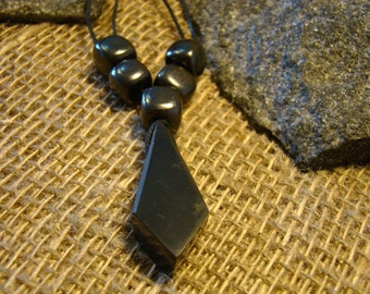 "Shungite necklace ""Crystal"" with squares of Karelia."