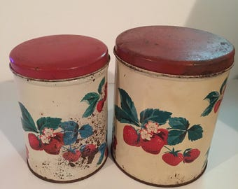 Vintage Parmeco Rusty Shabby Strawberries Canisters