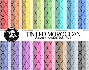 48 Tinted Moroccan Digital Paper • Rainbow Digital Paper • Commercial Use • Instant Download • #MOROCCAN-101-1-TINT