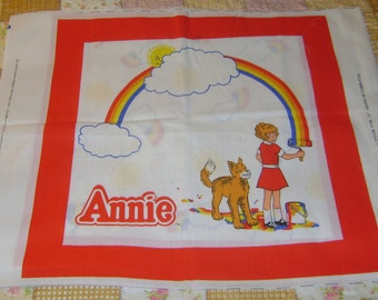 "1982 ANNIE Pillow Panel 45"" X 18"" UNCUT - Rainbow - 16 inch pillow - Columbia Pics # 6150 - a great Winter project"