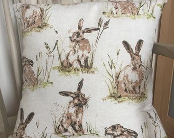 Vintage style hare cushion cover complete with pad