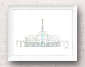 Bountiful Utah LDS Temple Painting - Archival Art Print