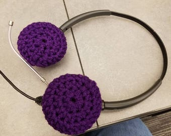 Crochet headphone or headset ear cushions