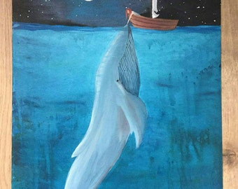 Blue whale, acrylic canvas, sea painting, beautiful whale painting 20x16, decorative painting whale