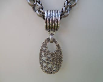 Antiqued Silver Boho Style Necklace With Large Removable Pendant