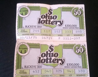 4 Vintage Ohio Lottery Tickets 1975