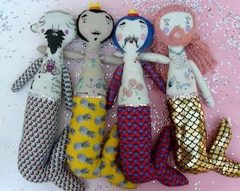 "Cloth doll, tattoed doll, mermaid doll, doll with tattoo, decoration, Art doll, ""Goldie Mama"" doll."