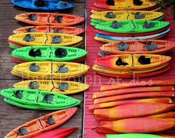 Georgetown, Washington DC; Kayaks; Rainbow; Colorful; Dock; Potomac; River; Adventure; poster or wall art