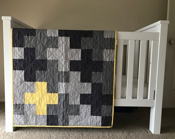 The Monkey: A modern grey and yellow cross cot/crib quilt