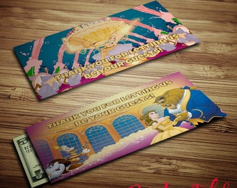Mousekeeping Envelopes - Beauty and the Beast - Printables - Tip Envelopes - Instant Download