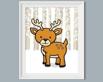 8 x 10 Printable Art, Deer, Nursery Art, Nursery Wall Decor, Woodland Animals