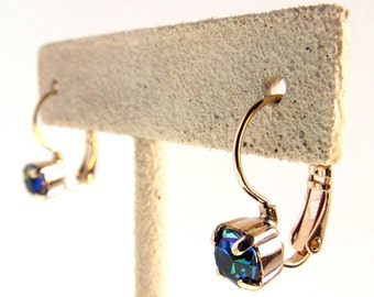Green Sphinx in Rose Gold Drop Earrings