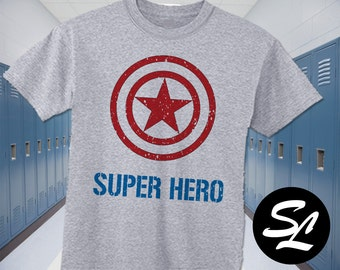 Super Hero Captain America Inspired Sport Gray Tee Shirt All Toddler and Youth Sizes Marvel Shield Super Hero Shirt Big Brother Shirt