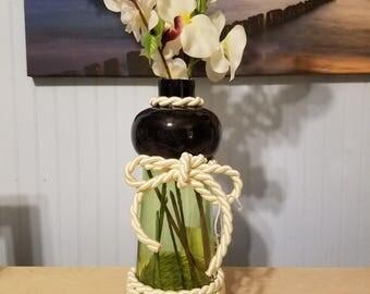 Rope wrapped flower vase