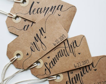 Custom Personalized One of a Kind Handwritten Names and Wedding Date Kraft/Brown Paper Gift Tag Label with Twine Calligraphy Names