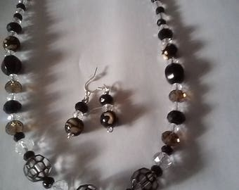 Black Glass Bead Necklace Set with Crystal Accents