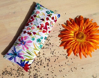 Lavender Eye Pillow Watercolor Flowers Organic Flax Seed Yoga Accessories Gifts for Her Mothers Day Birthday Gifts for Her Aromatherapy