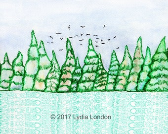 Pine Forest With Birds Letter Size Digital Print, pines, winter, trees, woods, pattern, canada, wall art, illustration, landscape