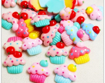 30pcs/ Lot cupcake shaped flat back resins buttons
