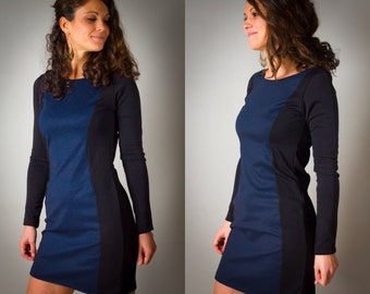 """Dress """"Alice"""" for woman, Jean gross and dark blue denim, woman dress, short, slinky, sexy, ethnic, long sleeves, ethnic Look, Stretch"""