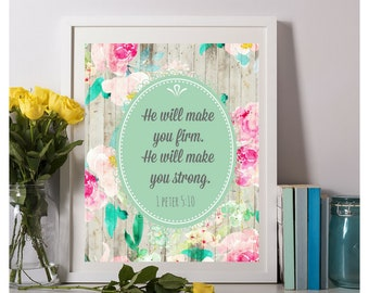 he will make you firm he will make you strong, 1 Peter 5:10, jw wall art, jw gifts, pioneer gifts