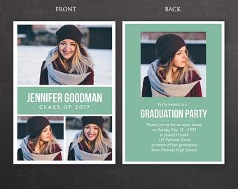 Graduation Announcement Card - Photoshop Template, PSD *INSTANT DOWNLOAD*
