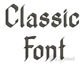 Classic Embroidery Font Designs 5 size Instant Download