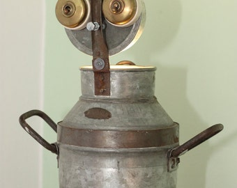 Churni - Galvanised finished character lamp made from milk churn