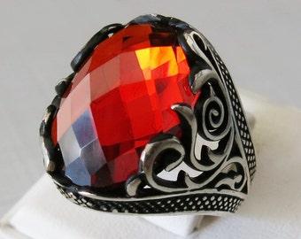 Handmade 925 Sterling Silver Red Zircon STONE Men's RING #B59
